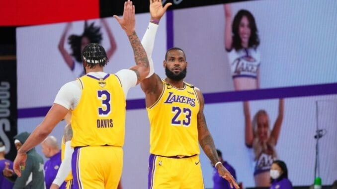 Anthony Davis e LeBron James na final da NBA